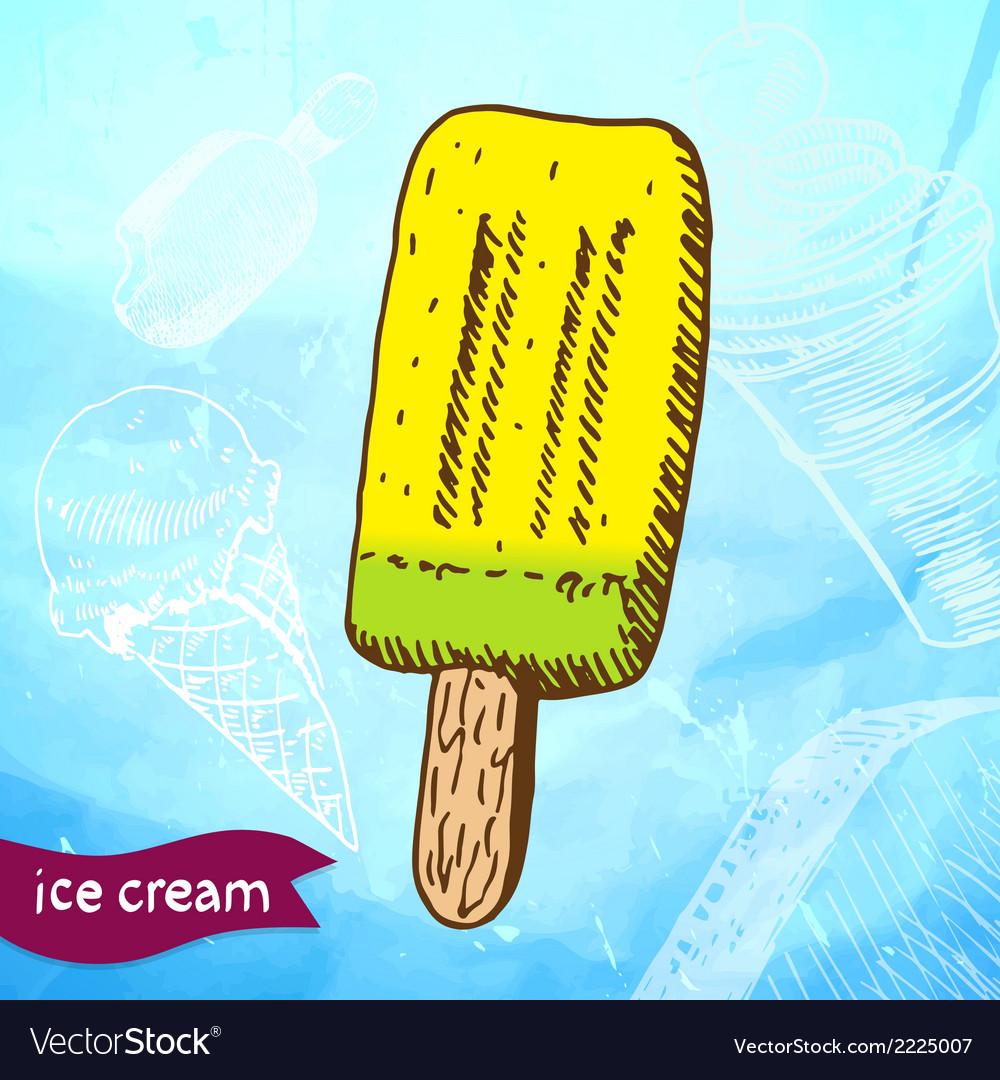 Doodle ice cream frozen dessert style sketch vector | Price: 1 Credit (USD $1)