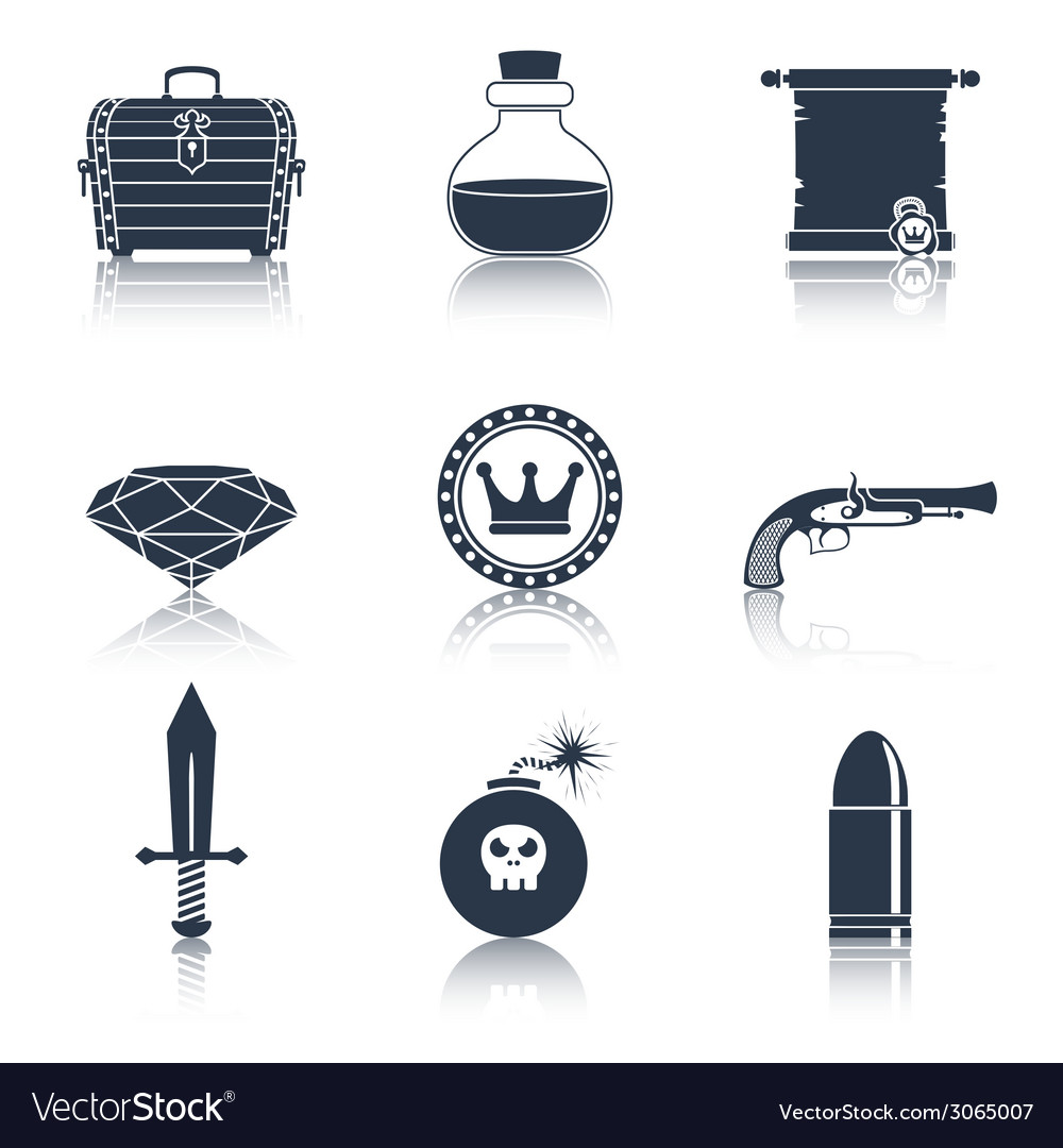 Game resources icons black vector | Price: 1 Credit (USD $1)