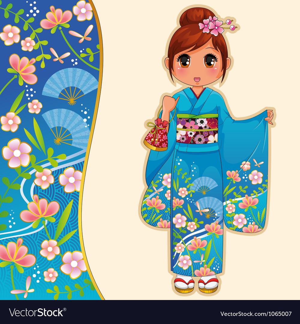 Kimono girl vector | Price: 3 Credit (USD $3)