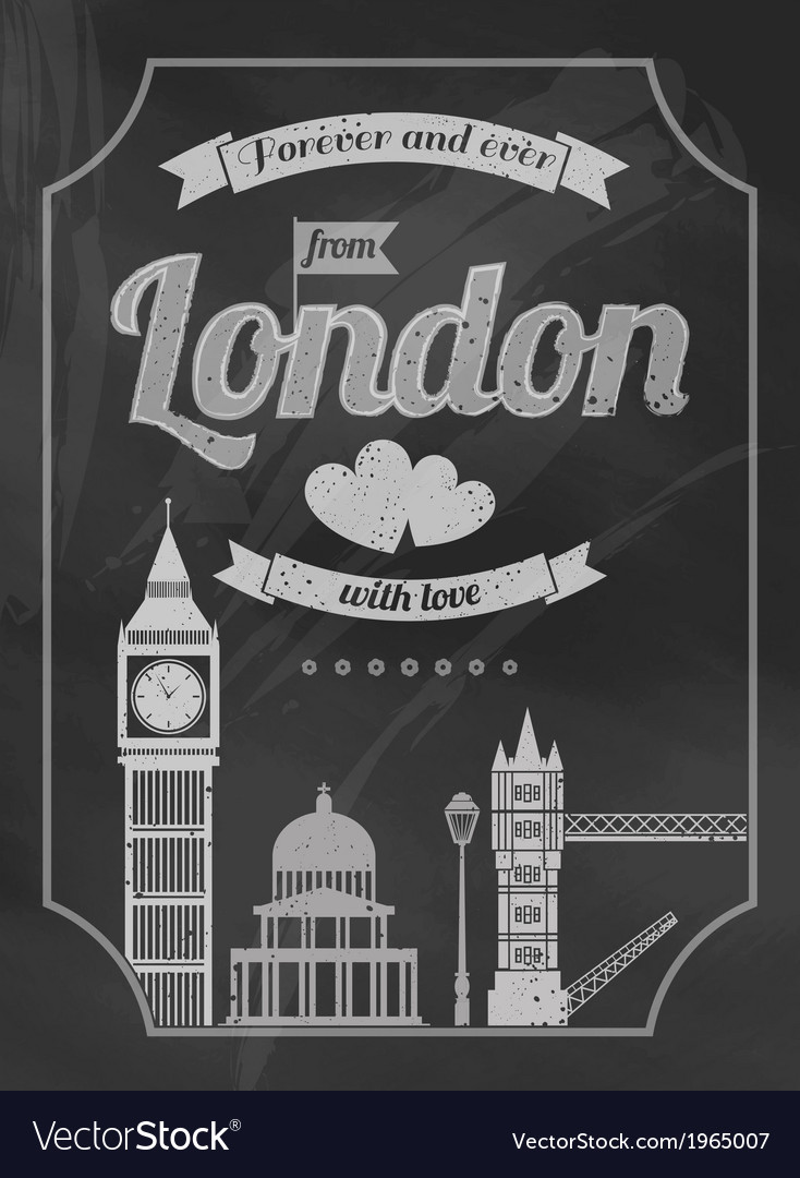 Love london chalkboard retro poster vector | Price: 1 Credit (USD $1)