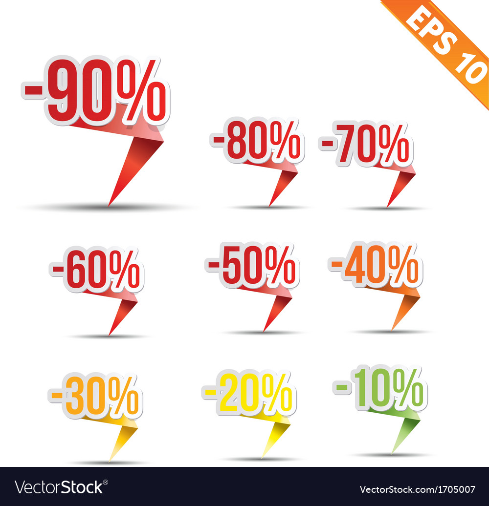 Sale discount colored origami tag - - eps10 vector | Price: 1 Credit (USD $1)