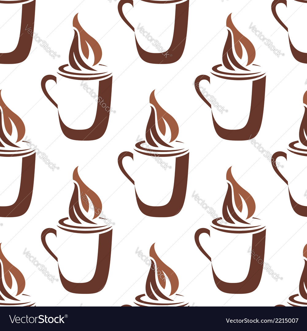 Seamless pattern of a mug of steaming hot coffee vector | Price: 1 Credit (USD $1)
