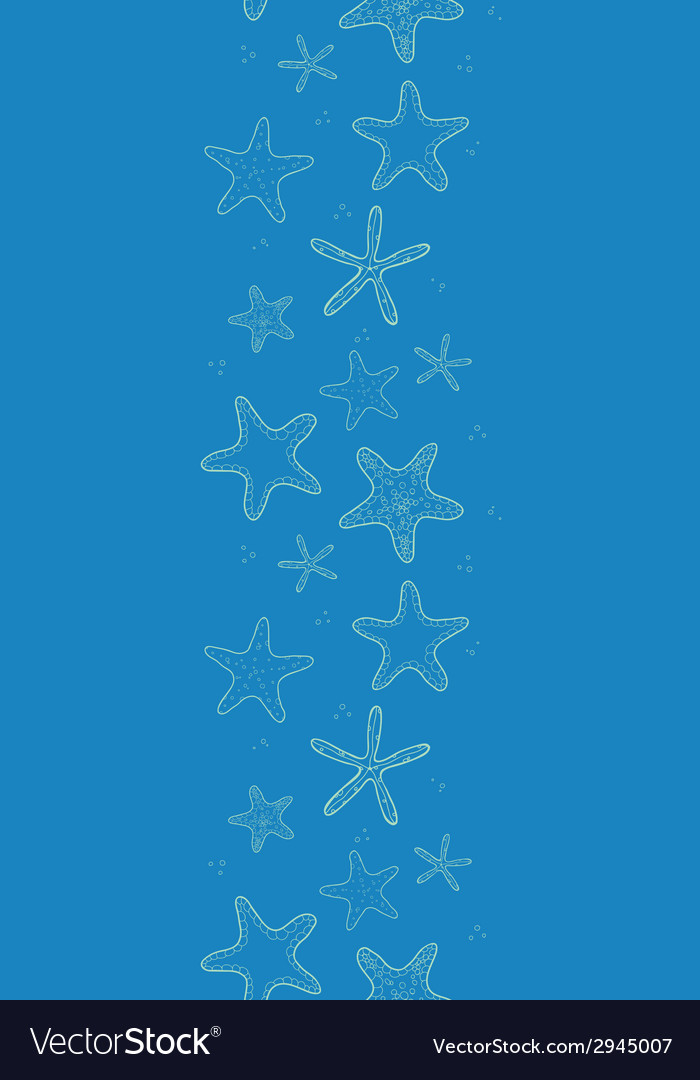 Starfish blue texture vertical seamless pattern vector | Price: 1 Credit (USD $1)