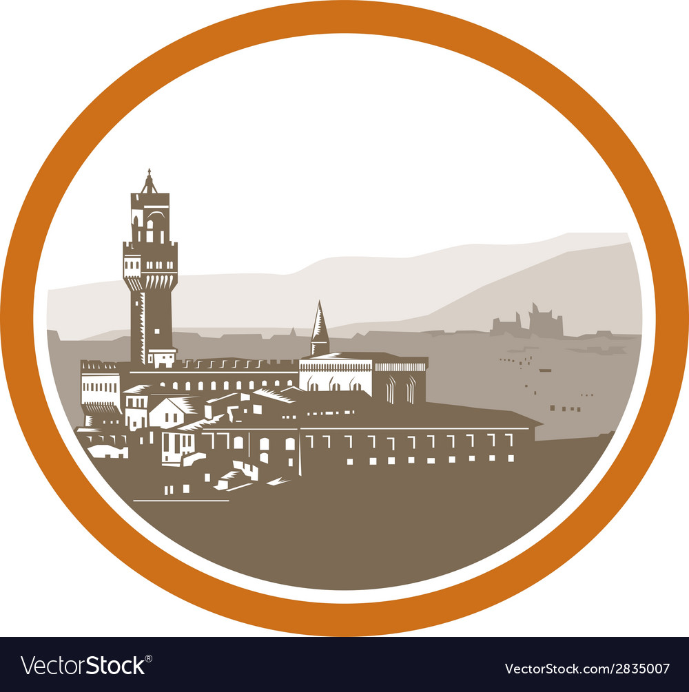 Tower of palazzo vecchio florence woodcut vector | Price: 1 Credit (USD $1)