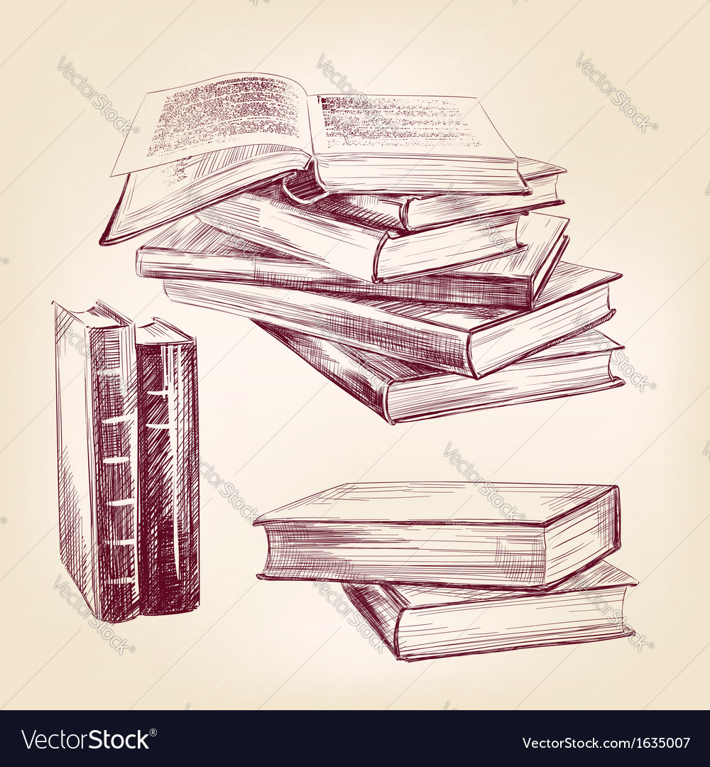 Vintage old books hand drawn set vector | Price: 1 Credit (USD $1)