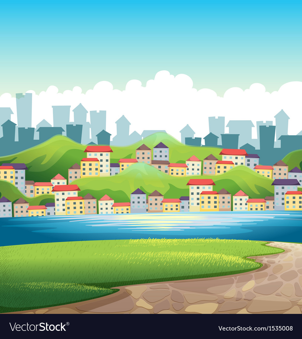 A river near the tall buildings vector | Price: 1 Credit (USD $1)