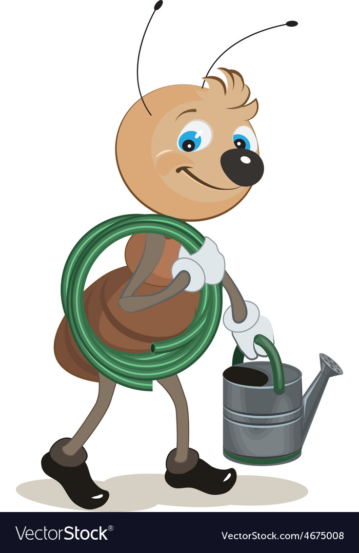 Ant gardener carries the hose and watering can vector | Price: 1 Credit (USD $1)