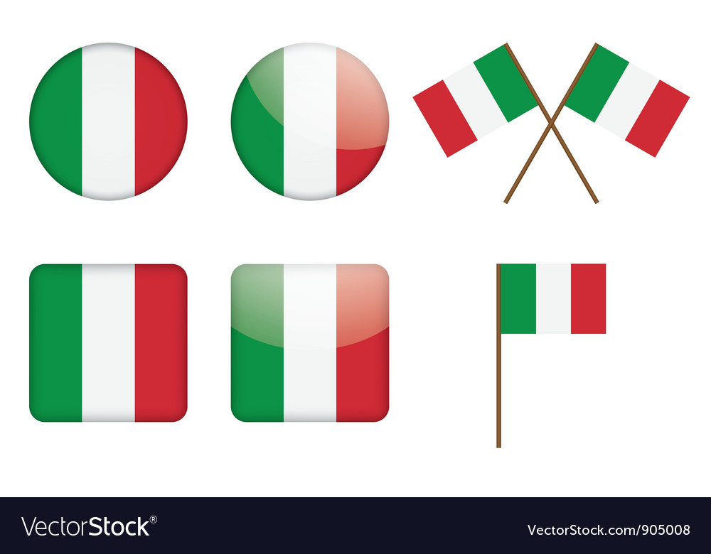 Badges with italian flag vector | Price: 1 Credit (USD $1)
