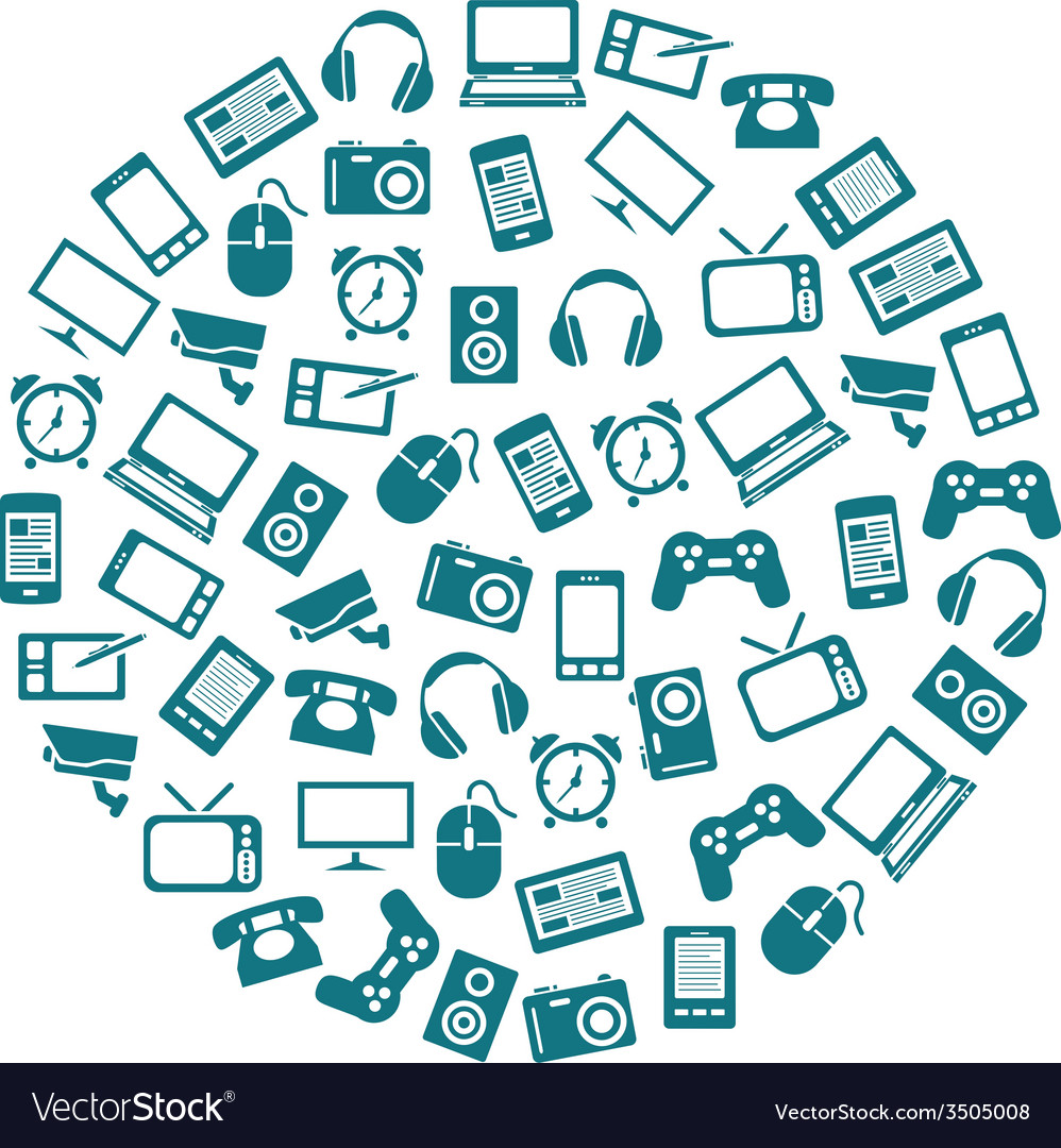 Gadget icons in circle vector | Price: 1 Credit (USD $1)