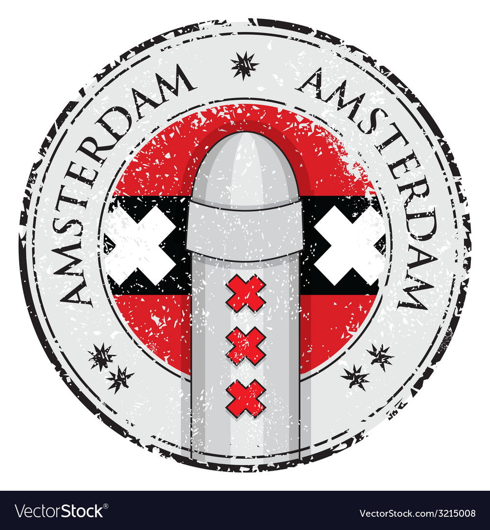 Grunge stamp with bollard symbol of amsterdam vector | Price: 1 Credit (USD $1)