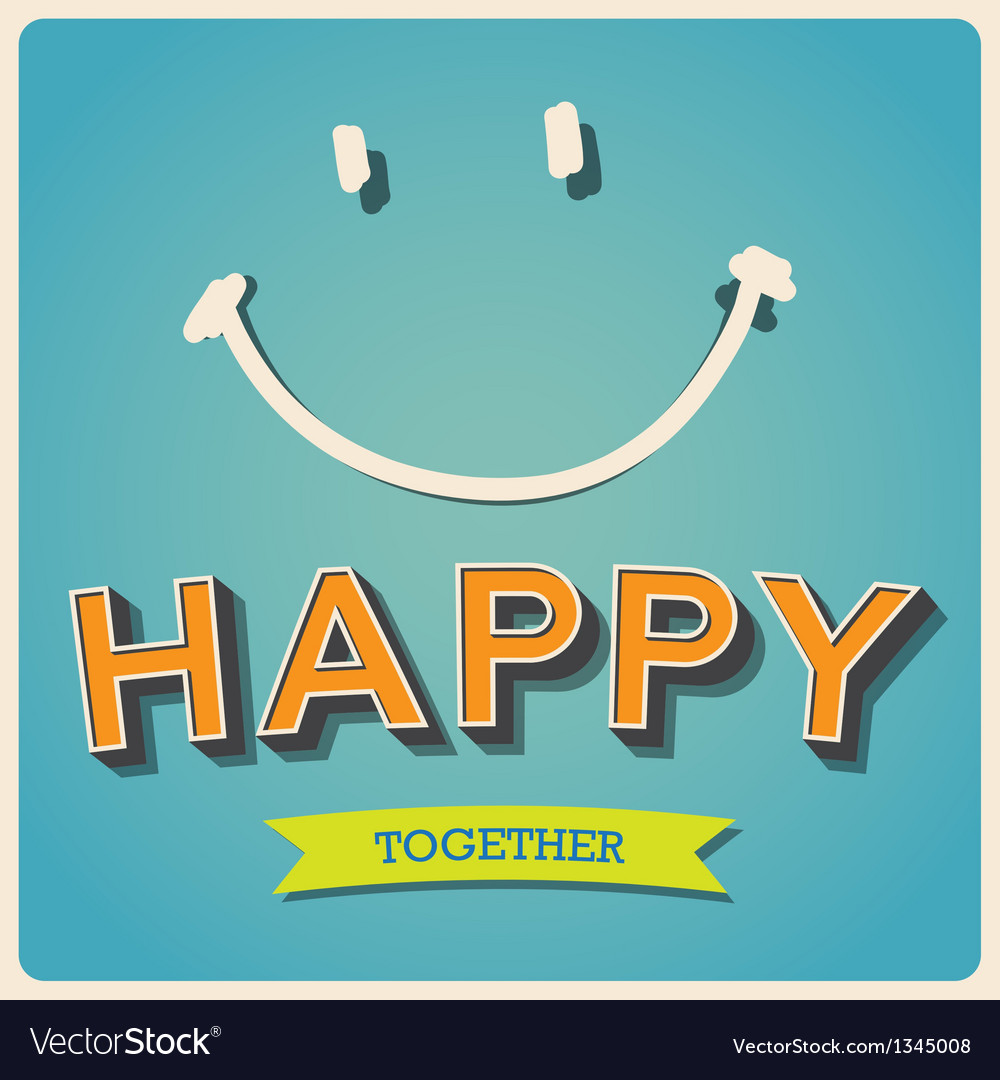 Happy and smile face retro poster eps10 vector | Price: 1 Credit (USD $1)