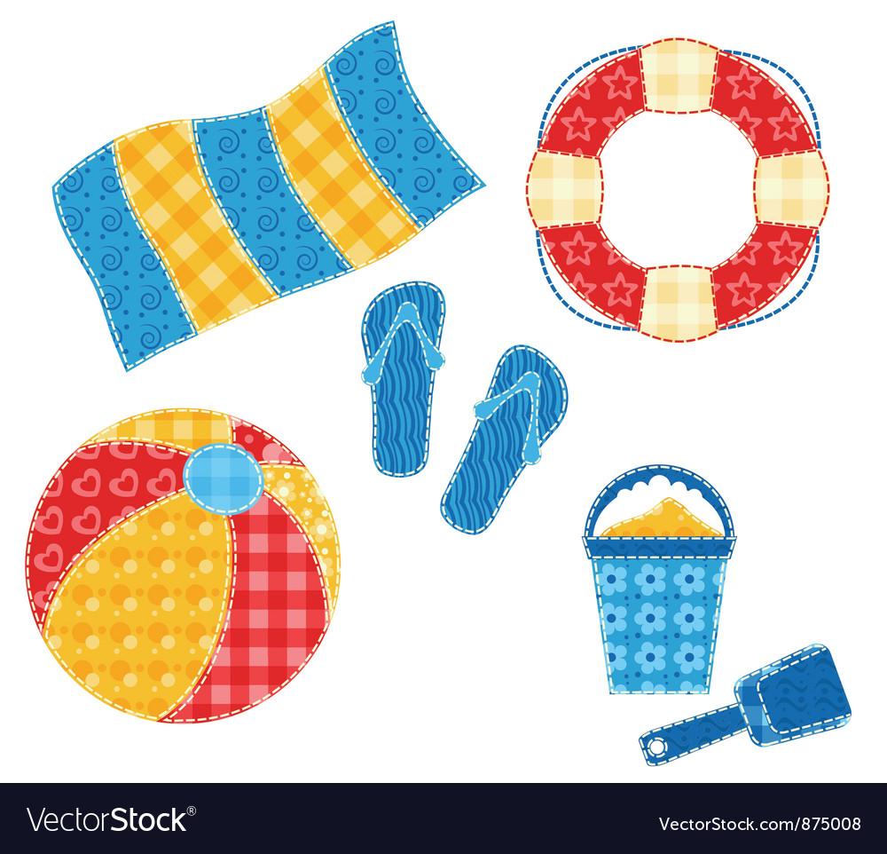 Patchwork beach set vector | Price: 1 Credit (USD $1)
