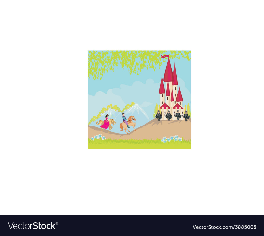 Prince and princess on their horses go to the vector | Price: 1 Credit (USD $1)