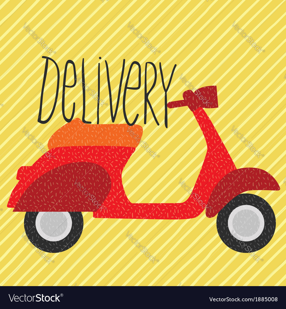 Red vintage scooter delivery vector | Price: 1 Credit (USD $1)