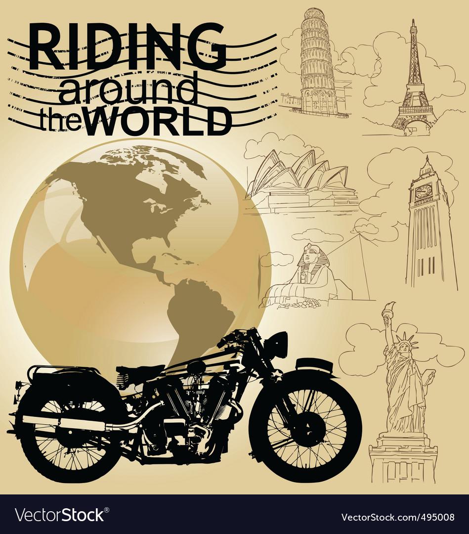 Riding around the world vector   Price: 1 Credit (USD $1)