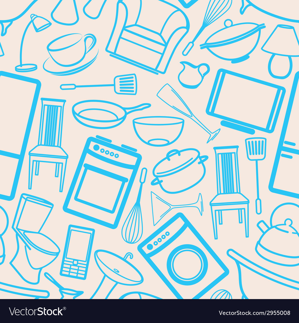 Seamless background with household items vector | Price: 1 Credit (USD $1)