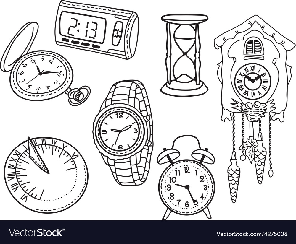 Set of clocks and watches vector | Price: 1 Credit (USD $1)