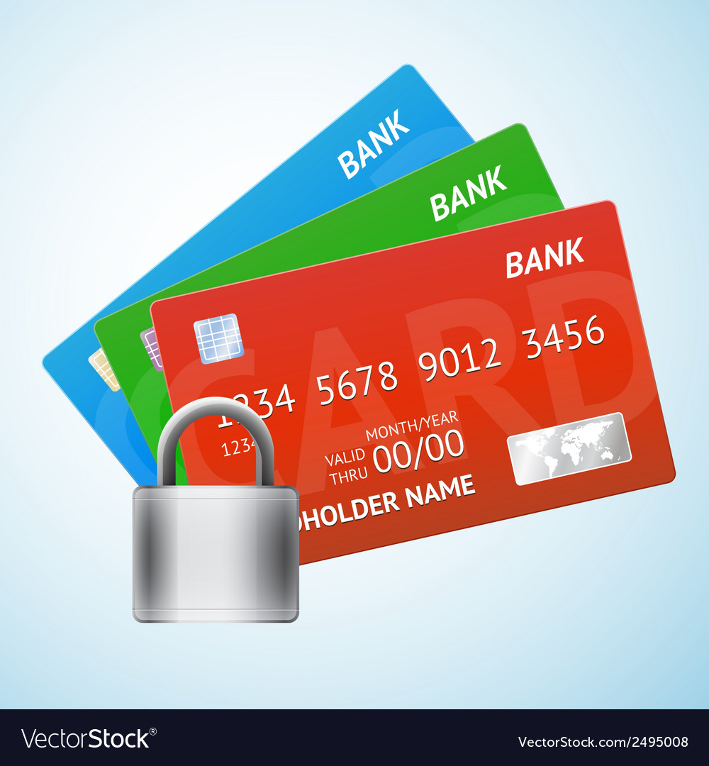Set of credit card with padlock vector | Price: 1 Credit (USD $1)