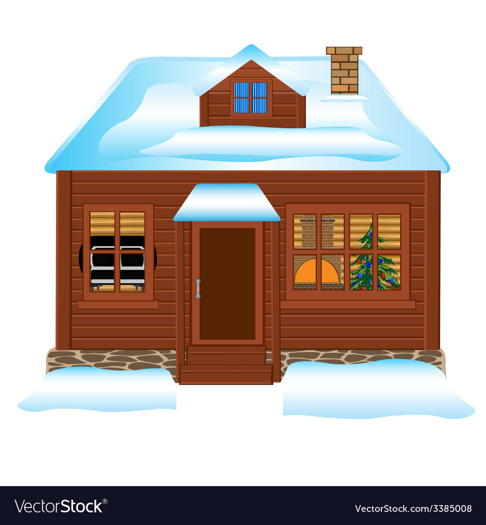 Small lodge in winter vector | Price: 1 Credit (USD $1)