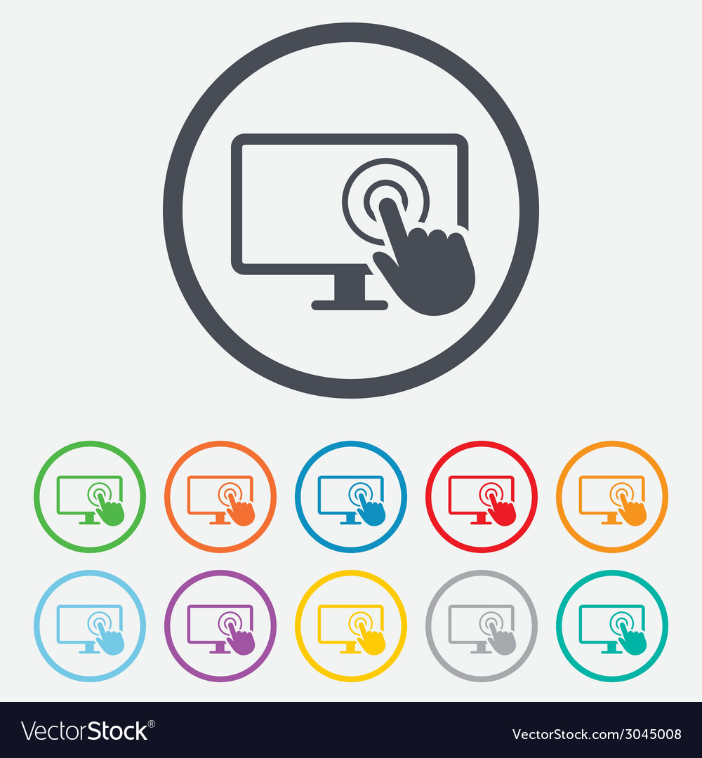 Touch screen monitor sign icon hand pointer vector   Price: 1 Credit (USD $1)