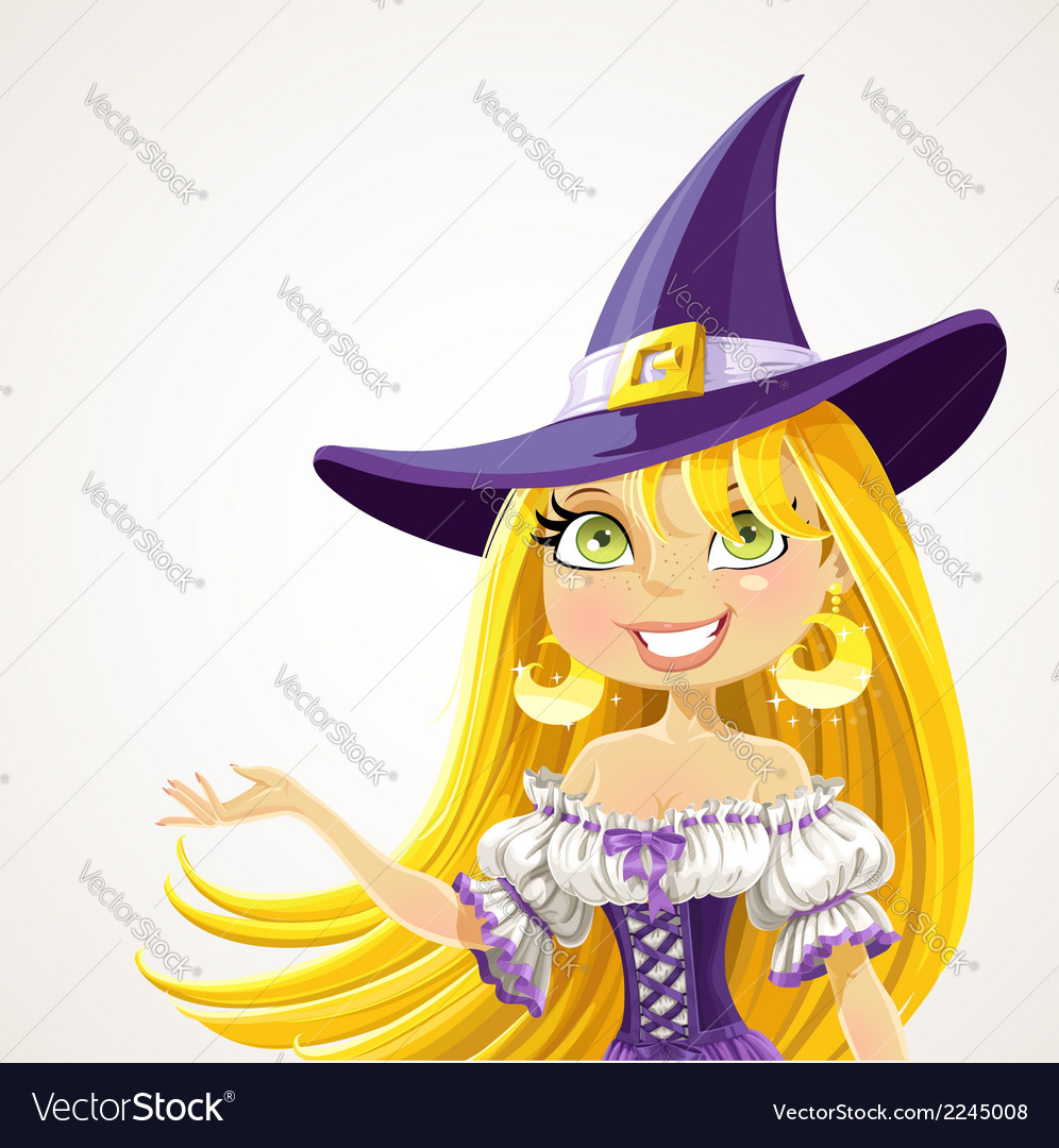 Witch shows hand aside explaining vector | Price: 3 Credit (USD $3)
