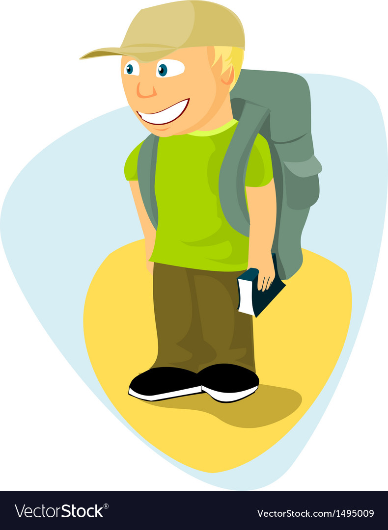 Backpacker boy with travel guide vector | Price: 1 Credit (USD $1)
