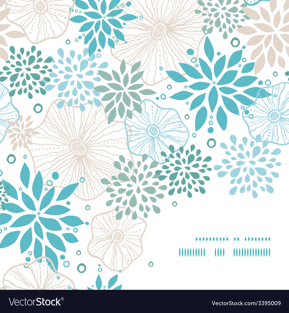 Blue and gray plants frame corner pattern vector | Price: 1 Credit (USD $1)