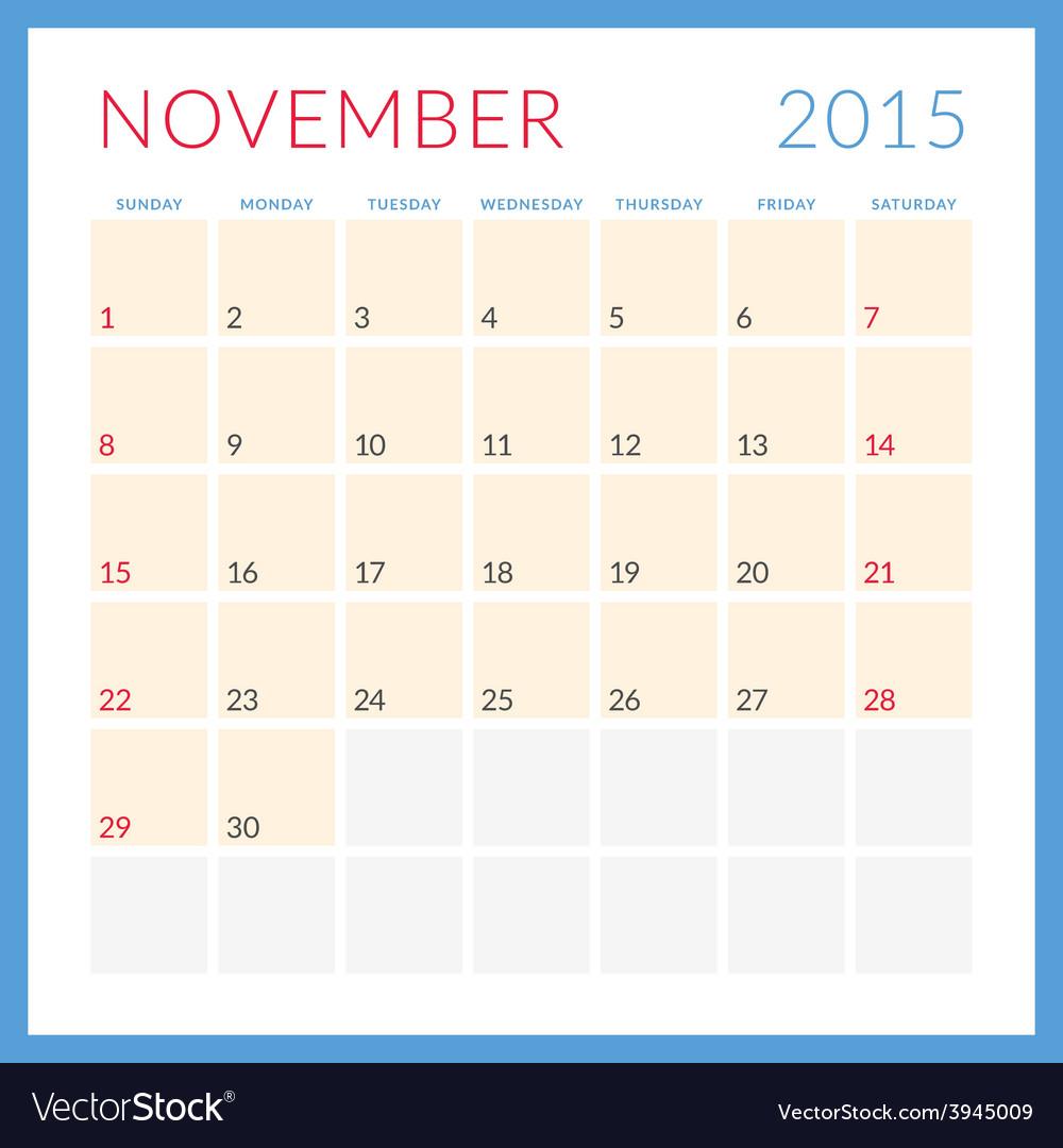 Calendar 2015 flat design template november week vector | Price: 1 Credit (USD $1)