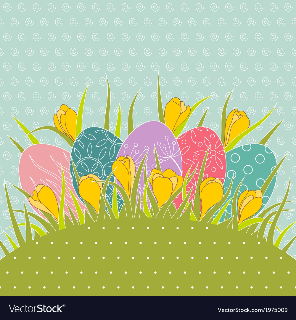 Easter eggs in grass and yellow crocuses vector | Price: 1 Credit (USD $1)