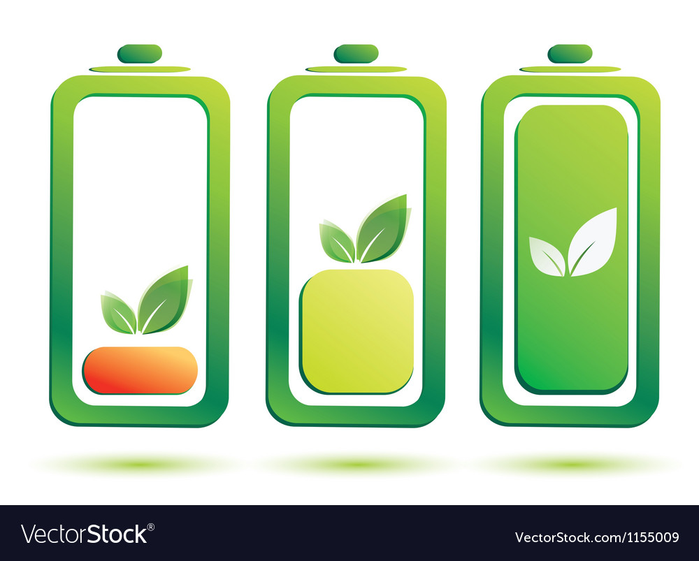 Eco battery charge level icons set vector | Price: 1 Credit (USD $1)
