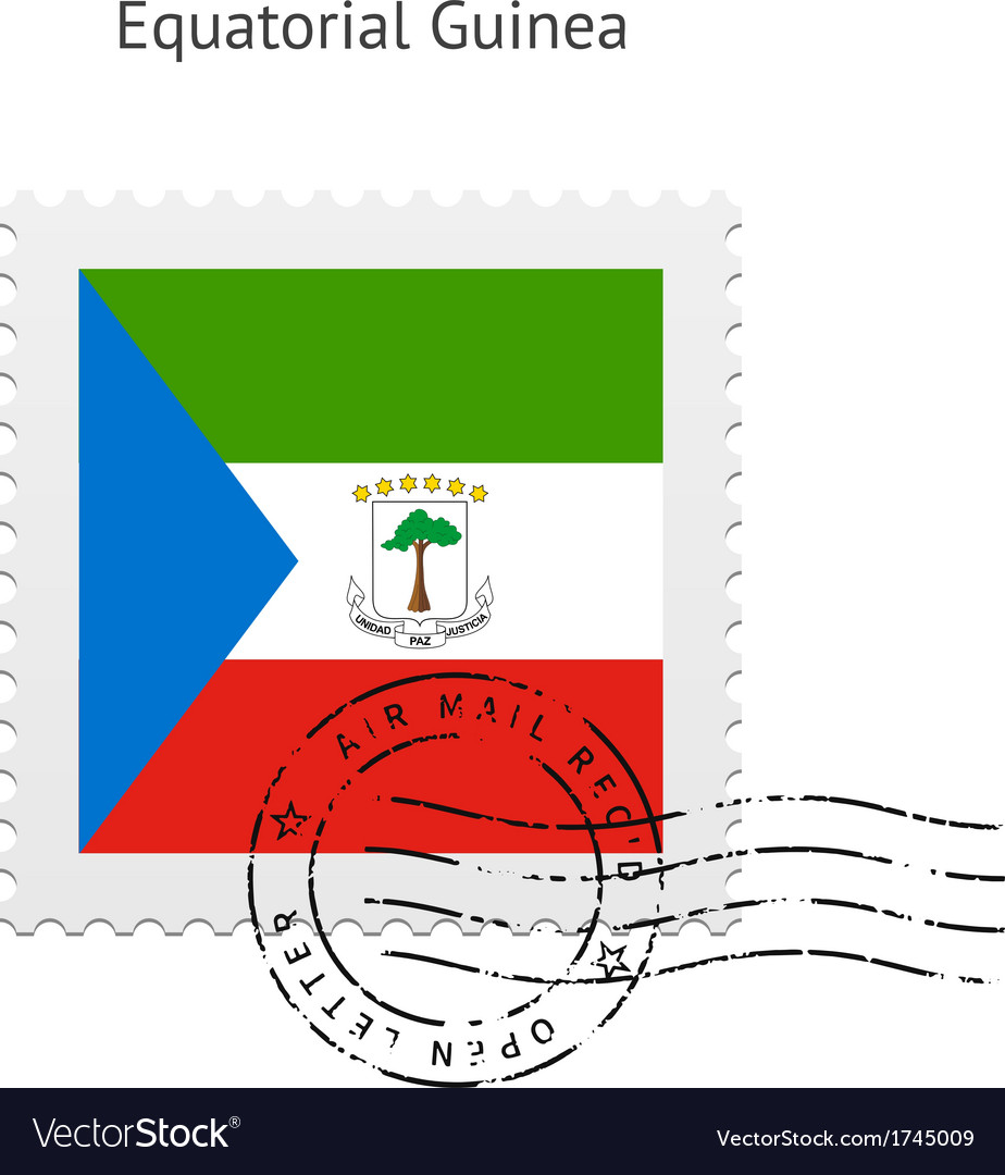 Equatorial guinea flag postage stamp vector | Price: 1 Credit (USD $1)
