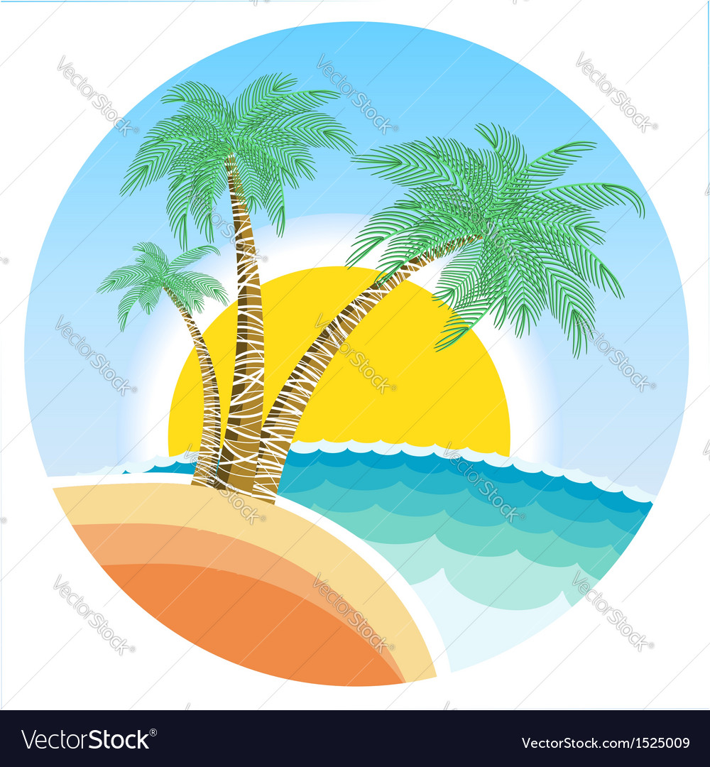 Exotic tropical island vector | Price: 1 Credit (USD $1)