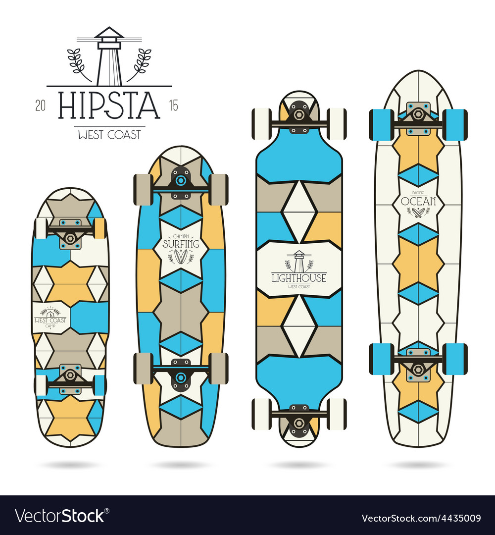 Hipster print for longboard vector | Price: 1 Credit (USD $1)