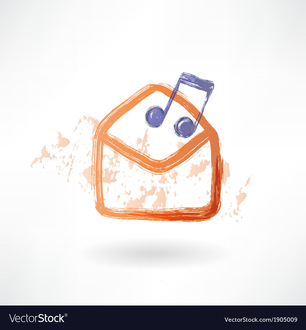 Music envelope grunge icon vector | Price: 1 Credit (USD $1)