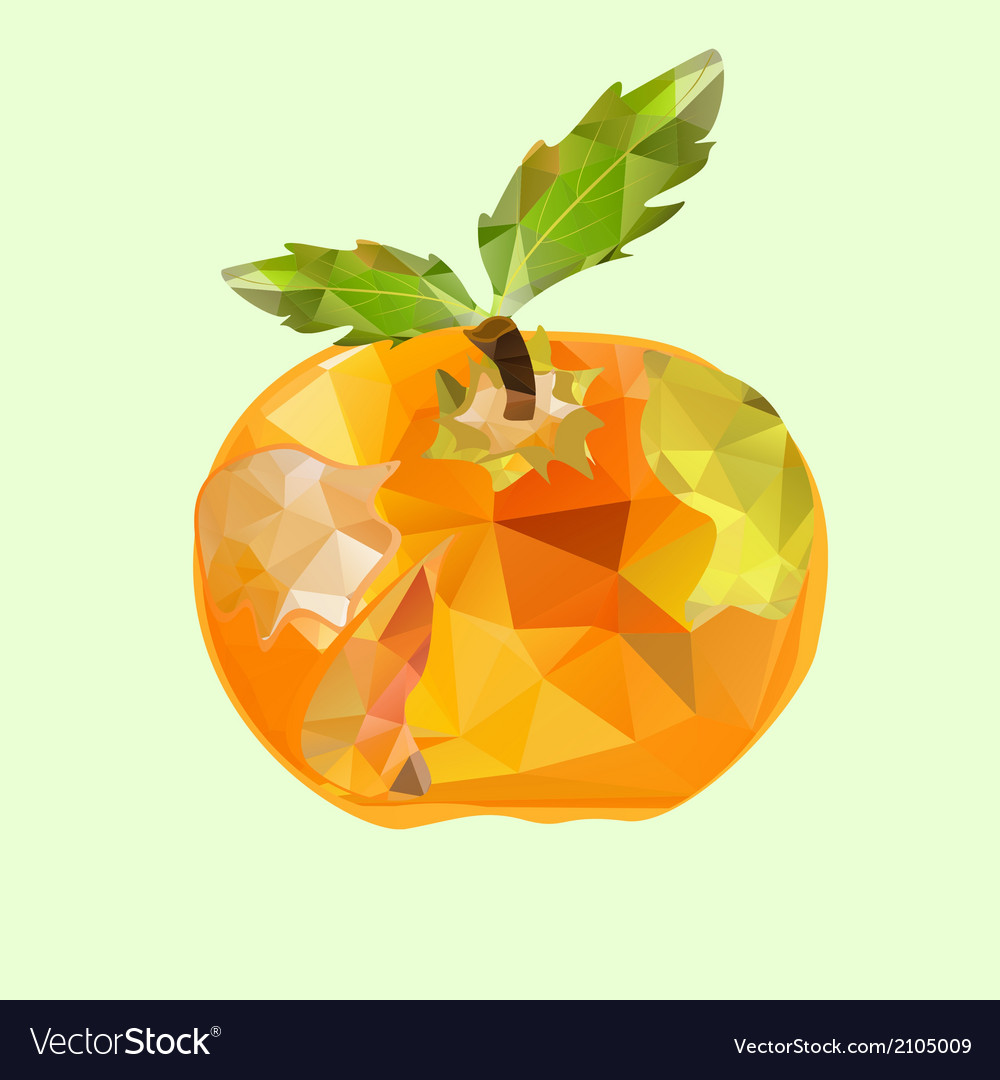 Polygonal apple orange vector | Price: 1 Credit (USD $1)