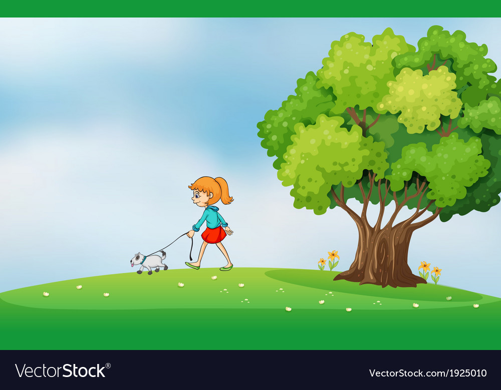 A girl walking with her dog at the hilltop vector | Price: 3 Credit (USD $3)