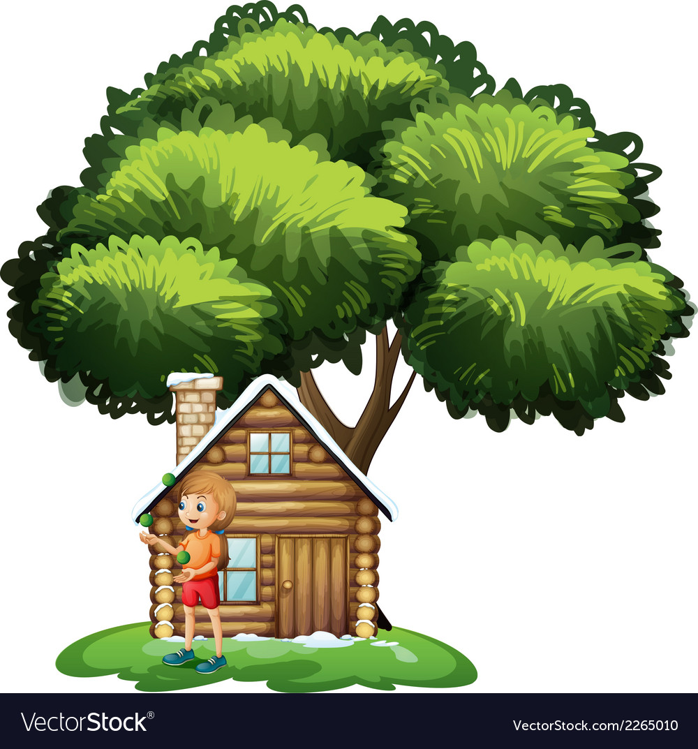 A young girl playing outside the small house under vector | Price: 1 Credit (USD $1)