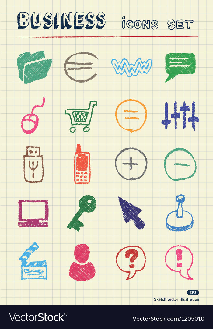 Business media and social network web icons set vector | Price: 1 Credit (USD $1)