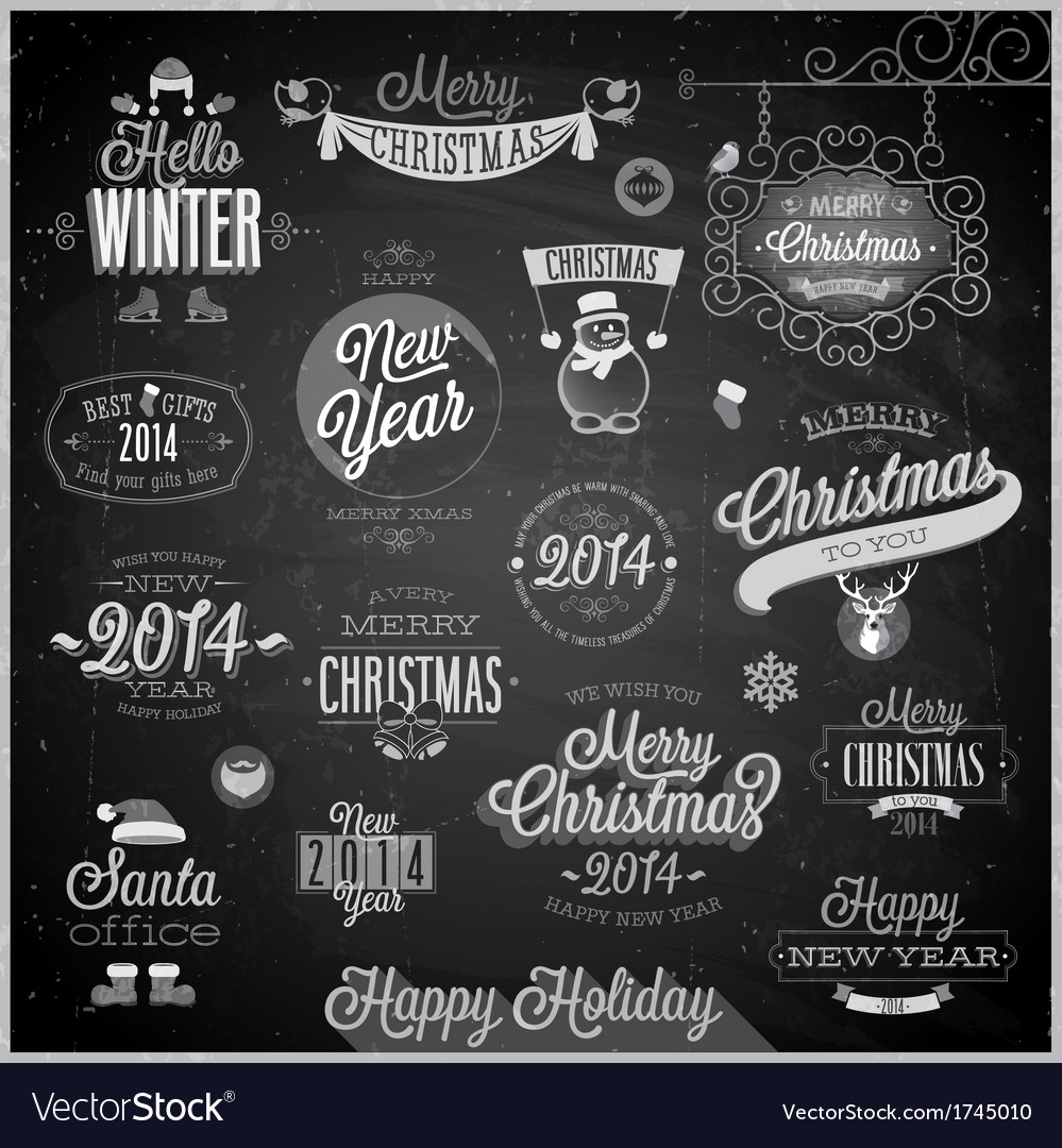 Christmas emblems3 chalk vector | Price: 1 Credit (USD $1)