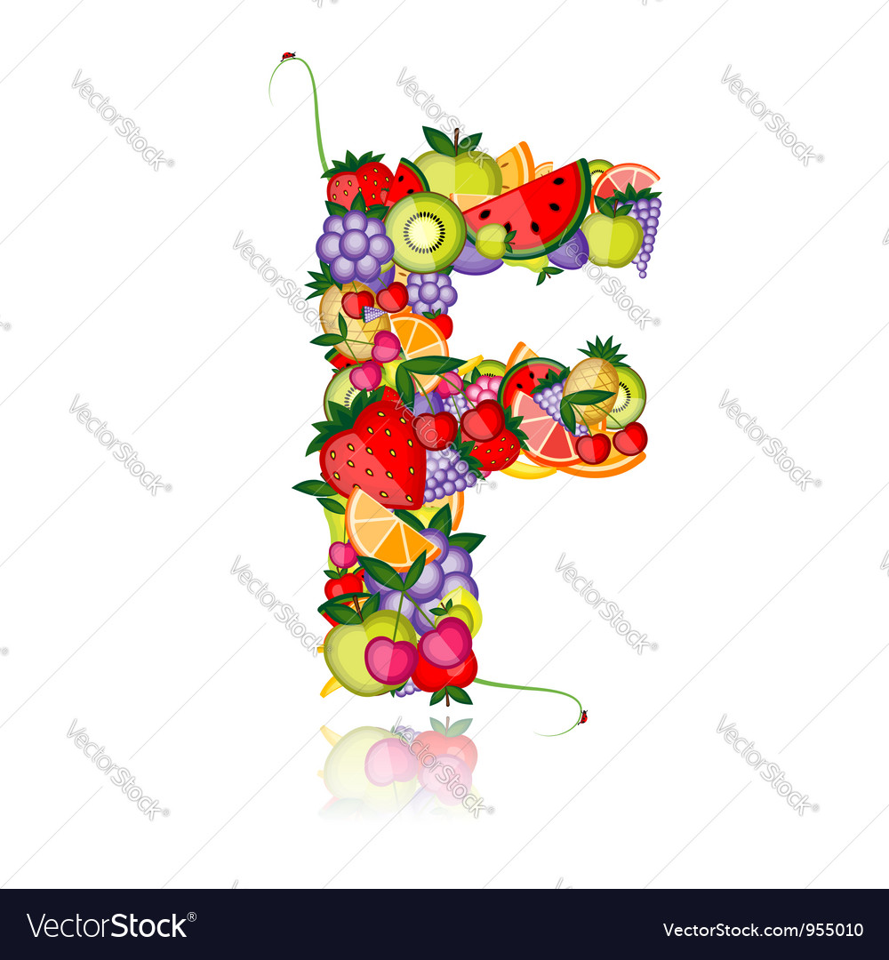 Fruit letter for your design vector   Price: 1 Credit (USD $1)