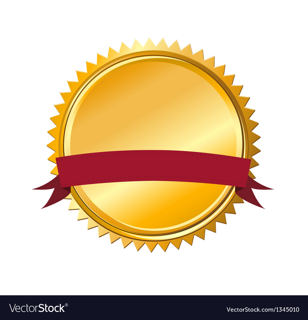 Gold guarantee seal with message banner vector | Price: 1 Credit (USD $1)