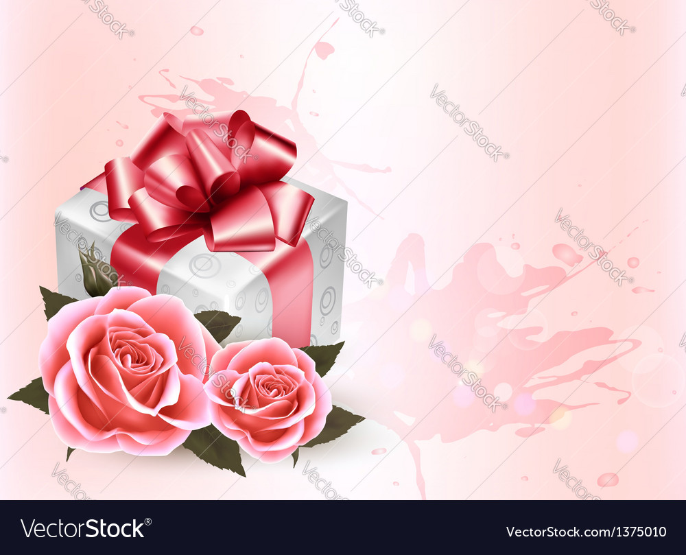 Holiday background with pink roses and gift box vector | Price: 3 Credit (USD $3)