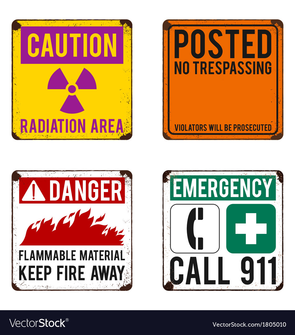Safety signs on rusty metal placard vector | Price: 1 Credit (USD $1)