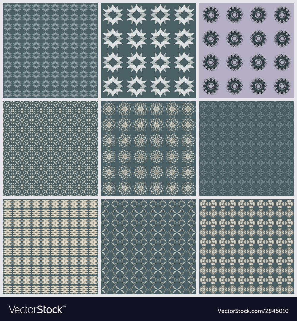 Seamless pattern background set elegant texture vector | Price: 1 Credit (USD $1)