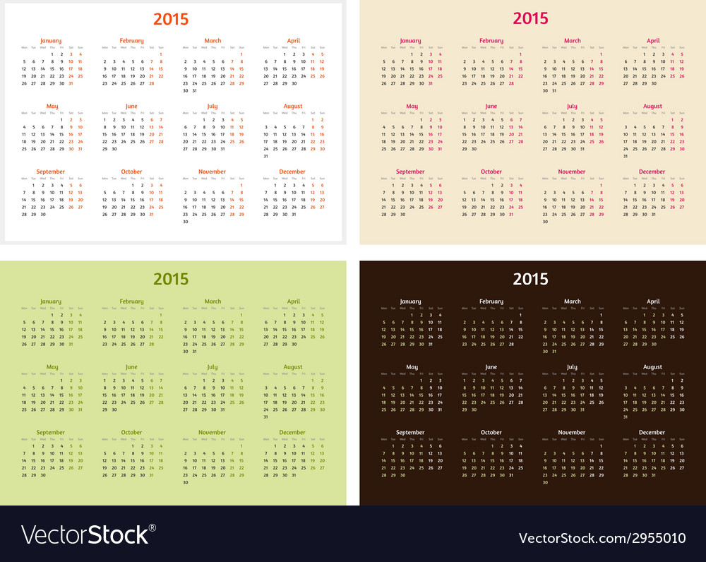 Set of 2015 year calendar templates vector | Price: 1 Credit (USD $1)