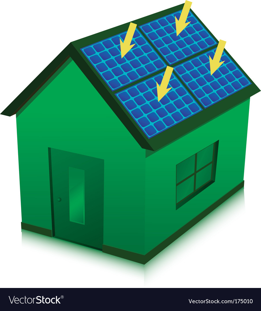 Solar energy house vector | Price: 1 Credit (USD $1)