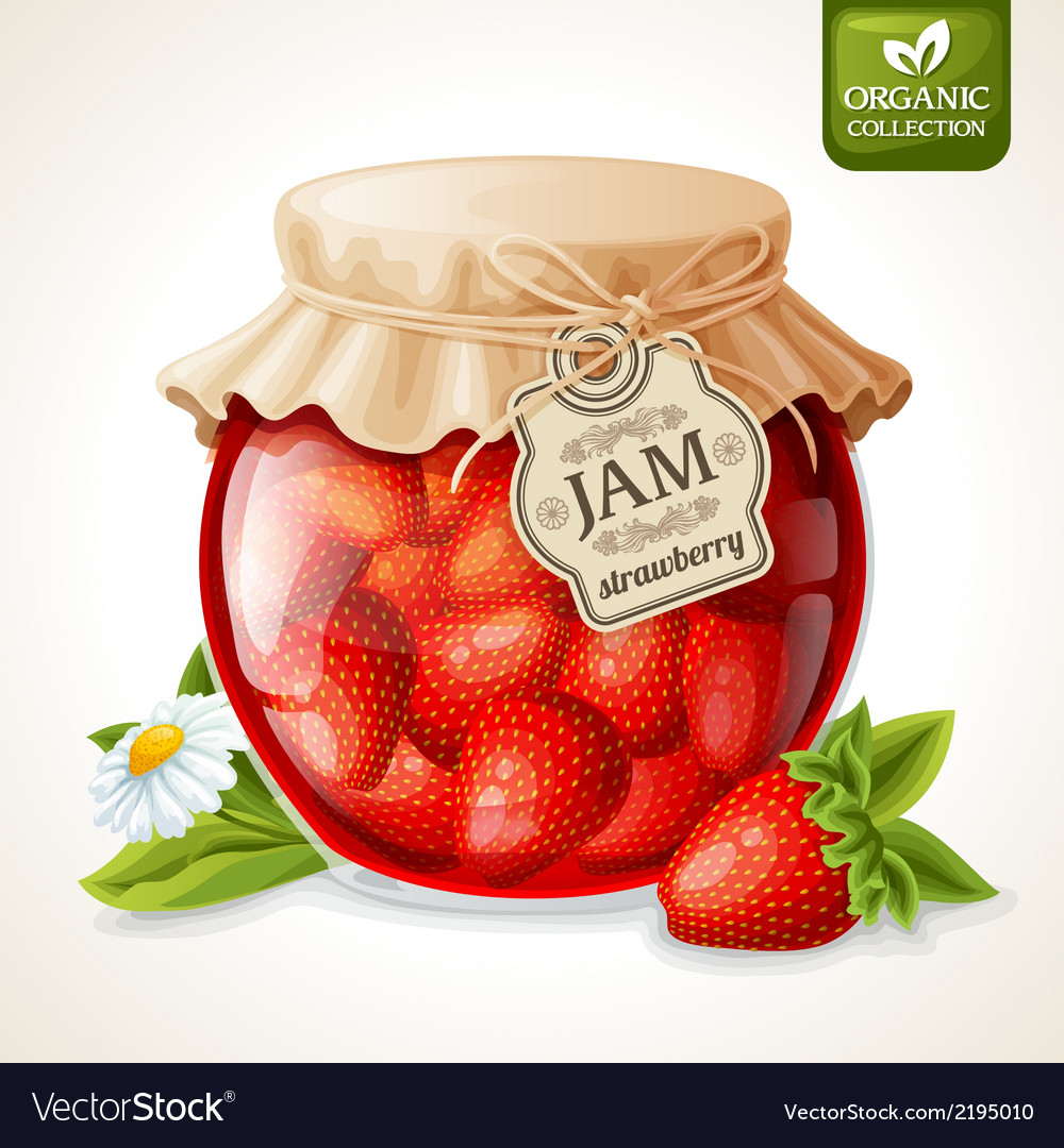 Strawberry jam in glass vector | Price: 1 Credit (USD $1)