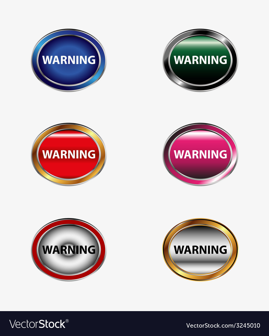 Warning sign button vector | Price: 1 Credit (USD $1)