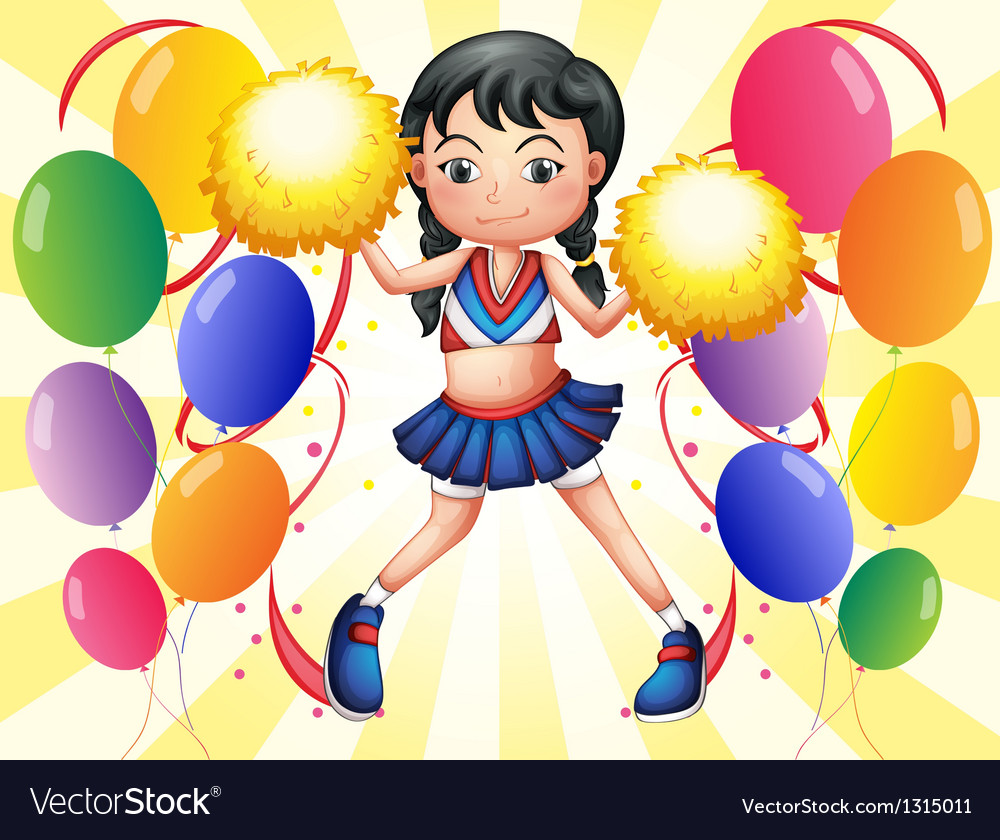 A young cheerer in the middle of the balloons vector | Price: 1 Credit (USD $1)