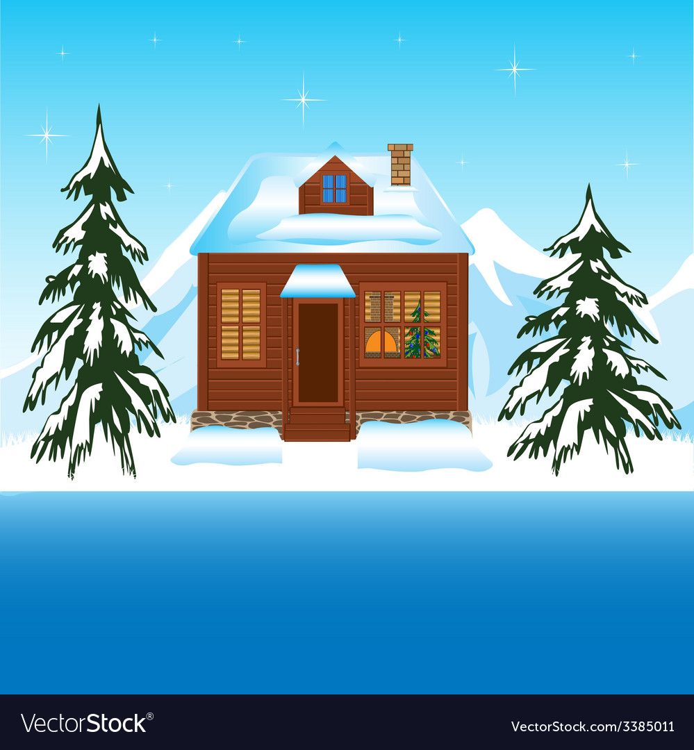 Beautiful house beside yard in winter vector | Price: 1 Credit (USD $1)